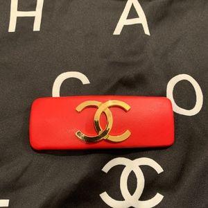 Vintage Chanel Red Leather CC Barrette